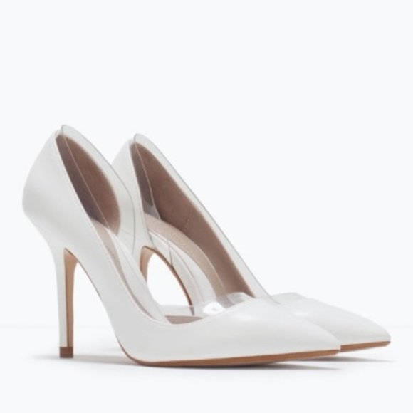 NWOT Zara White and Vinyl Pointy Toe High Heels 6